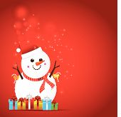 Christmas Snow Man On The Red Background
