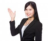 Woman customer services with open hand palm