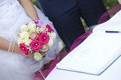 Bride, Groom & Bouquet