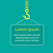 Industrial Hook On Chain With Blank Poster Board Template Flat Design