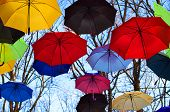Many Multicolored umbrellas up in the sky. Rainbow Colors.