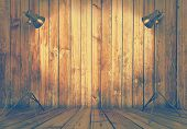 photo studio in old wooden room, retro filtered, instagram style