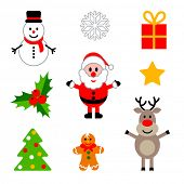 Vector set of colorful christmas characters and decorations.