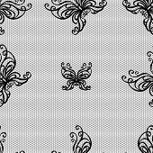 Seamless vector pattern. Lace butterfly ornament on mesh.