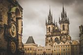 Tyn cathedral church and famous Astronomical Clock, Prague, Czech Republic