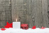 Christmas Candle And Red Stars