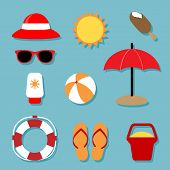 Summer Relaxing Icons Set