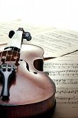 Detail Of Violin On Music notes