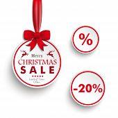 White Sale Circles Red Ribbon White Background