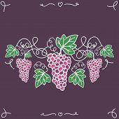 Hand-drawn decorative ripe grapes on the vine.