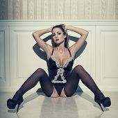 Sensual Woman In Lingerie Sit On Floor
