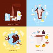 Milk icons set flat
