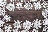 Christmas Frame - Wooden Background With Snowflakes