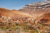 The small mountain village of Aguelmous in the High Atlas in winter season - Ouarzazate province, Morocco, Africa.