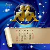 Simple monthly page of 2015 Calendar with gold zodiacal sign against the blue star space background. Design of June month page with Gemini figure