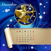 Simple monthly page of 2015 Calendar with gold zodiacal sign against the blue star space background. Design of December month page with Sagittarius figure.