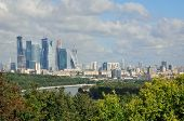 View of Moscow from a viewing platform on Sparrow Hills. Moscow. Russian Federation.