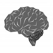Illustration With Human Brain In A Simple Geometric Style