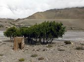 foto of primitive  - A primitive built wooden toilet shed near a river in the dry Annapurna Himalayas of Mustang Nepal during monsoon - JPG