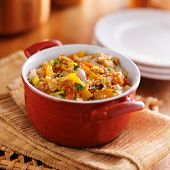 quinoa casserole with corn, bell peppers and ground turkey