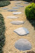 picture of stepping stones  - Stone and sand walkway in a garden - JPG