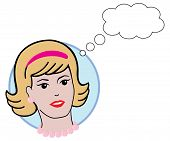 Retro Woman's Head with Thought Bubble