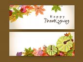 Happy Thanksgiving website header or banner with maple leaves and pumpkin.