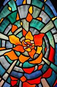 stock photo of stained glass  - a beautiful flower pattern stain glass background - JPG