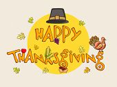 Stylish text with turkey bird, maple leaves, acorn and pilgrim hat for Thanksgiving Day celebration.