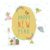 Poster or greeting card with stylish text Happy New Year and other decorative ornaments on beige background.