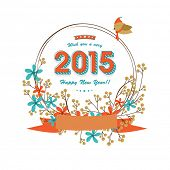 Stylish floral decorated Happy New Year frame , can be used us poster, banner or flyer.