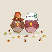 Poster design with turkey birds in pilgrim hat and maple leaves for Thanksgiving Day celebration.