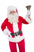 Santa claus ringing a bell on white background