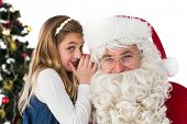 Little girl teling santa claus a secret on white background