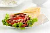 Ham and Salami Burrito with Vegetables and Salad Leaf