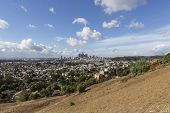 View of downtown Los Angeles from east side Lincoln Heights hilltop.