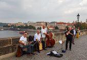 Musicians On The Charles Bridge. Prague.