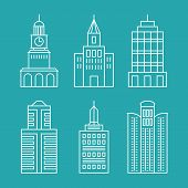 Vector Set Outline Buildings And Houses