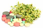 Pills Made From Medicinal Neem Flower And Leaves