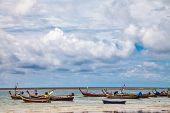 Boats in the tropical sea near tropical beach. Thailand