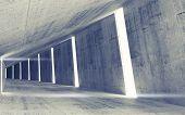 Empty Abstract Concrete Tunnel Interior