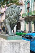 Bronze Lion at Paseo del Prado in Old Havana, a famous symbol of the city