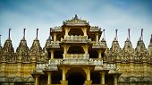 stock photo of jain  - Front entrance to Ranakpur Jain temple Rajasthan India - JPG