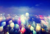 City Scape Colorful Lights Concept