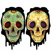 stock photo of day dead skull  - Day Of The Dead Skull Vector Set - JPG