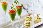 image of peas  - festive appetizers with avocado puree - JPG
