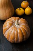 Large Pumpkins On A Wooden Table, Decor