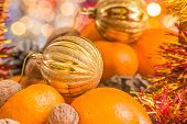 Christmas Ball In The Basket With Fruit