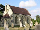 Stone chapel in graveyard