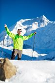 Man Happy Hiking Winter Mountains